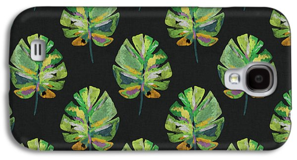 Tropical Leaves On Black- Art By Linda Woods Galaxy S4 Case