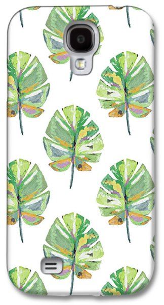 Tropical Leaves On White- Art By Linda Woods Galaxy S4 Case by Linda Woods