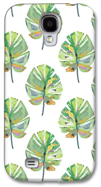 Tropical Leaves On White- Art By Linda Woods Galaxy S4 Case