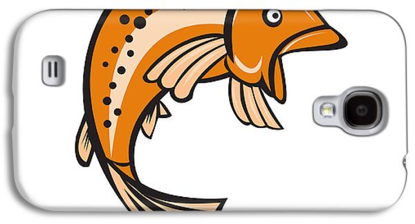Trout Rainbow Fish Jumping Up Cartoon  Galaxy S4 Case