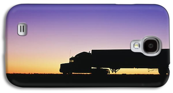 Commerce Galaxy S4 Cases - Truck Parked on Freeway at Sunrise Galaxy S4 Case by Jeremy Woodhouse
