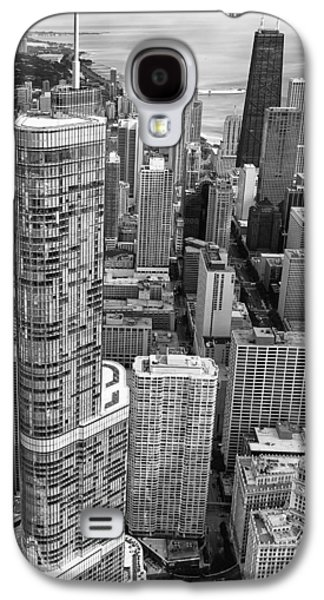Galaxy S4 Case featuring the photograph Trump Tower And John Hancock Aerial Black And White by Adam Romanowicz