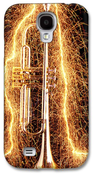 Trumpet Galaxy S4 Case - Trumpet Outlined With Sparks by Garry Gay