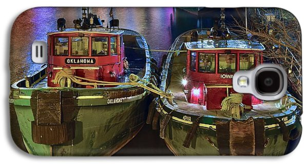Tug Boats At Night Galaxy S4 Case by Frozen in Time Fine Art Photography