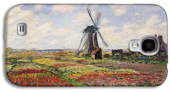 Impressionism Galaxy S4 Case - Tulip Fields With The Rijnsburg Windmill by Claude Monet