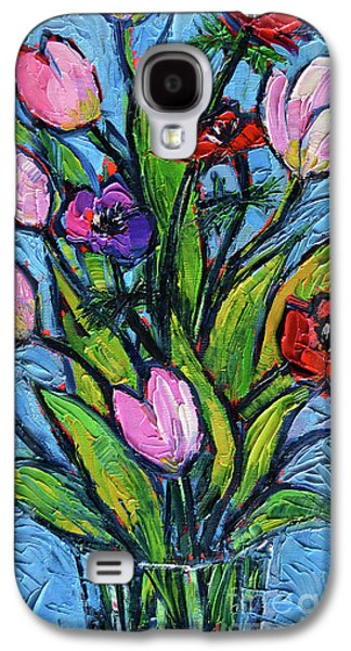 Tulips And Poppies - Impasto Palette Knife Oil Painting Galaxy S4 Case