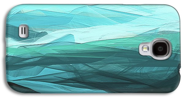 Turquoise And Gray Modern Abstract Galaxy S4 Case by Lourry Legarde