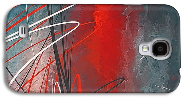 Turquoise And Red Modern Abstract Galaxy S4 Case by Lourry Legarde