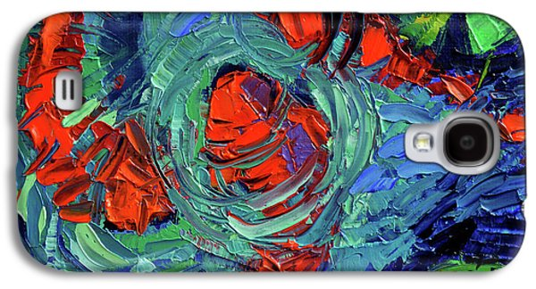 Turquoise Swirls Galaxy S4 Case by Mona Edulesco