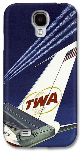Jet Star Galaxy S4 Case - Twa Star Stream Jet - Minimalist Vintage Advertising Poster by Studio Grafiikka