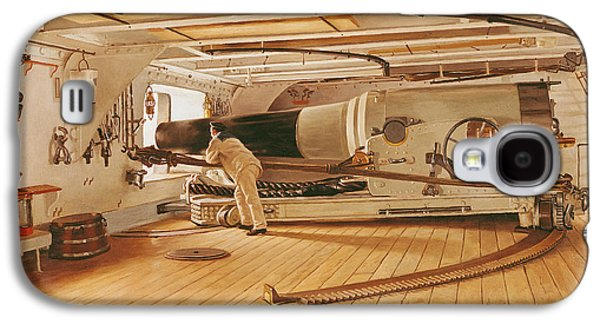 Twenty-seven Pound Cannon On A Battleship Galaxy S4 Case by Gustave Bourgain