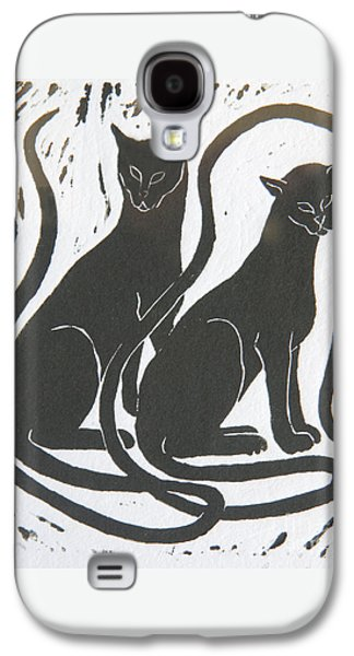 Galaxy S4 Case featuring the drawing Two Black Felines by Nareeta Martin