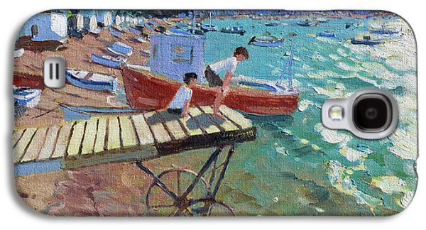 Two Boys On The Landing Stage, Teignmouth Galaxy S4 Case by Andrew Macara
