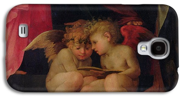 Two Cherubs Reading Detail From Madonna And Child With Saints Galaxy S4 Case by Giovanni Battist Rosso Fiorentino