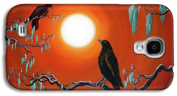 Two Crows On Mossy Branches Galaxy S4 Case by Laura Iverson