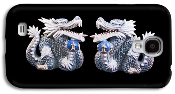 Galaxy S4 Case featuring the photograph Two Dragons On Black by Bill Barber