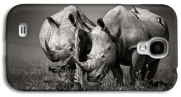Two Rhinoceros With Birds In Bw Galaxy S4 Case