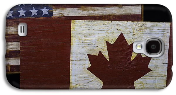 Two Wooden Flags American And Canadian Galaxy S4 Case