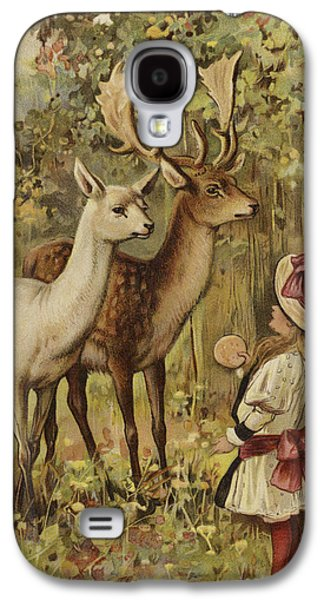 Feeding Young Galaxy S4 Case - Two Young Children Feeding The Deer In A Park by English School