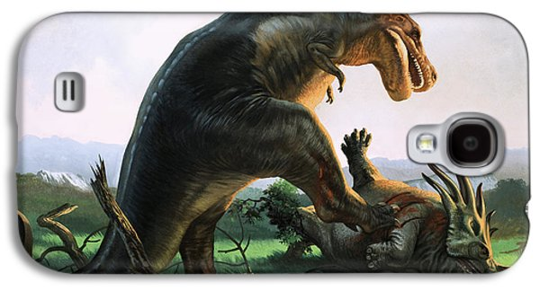Tyrannosaurus Rex Eating A Styracosaurus Galaxy S4 Case by William Francis Phillipps