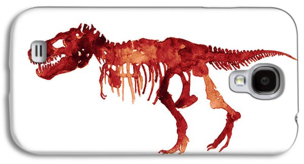 Tyrannosaurus Rex Skeleton Poster, T Rex Watercolor Painting, Red Orange Animal World Art Print Galaxy S4 Case by Joanna Szmerdt
