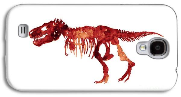 Tyrannosaurus Rex Skeleton Poster, T Rex Watercolor Painting, Red Orange Animal World Art Print Galaxy S4 Case by Joanna Szmerdt