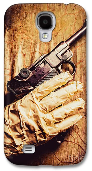 Undead Mummy  Holding Handgun Against Wooden Wall Galaxy S4 Case by Jorgo Photography - Wall Art Gallery