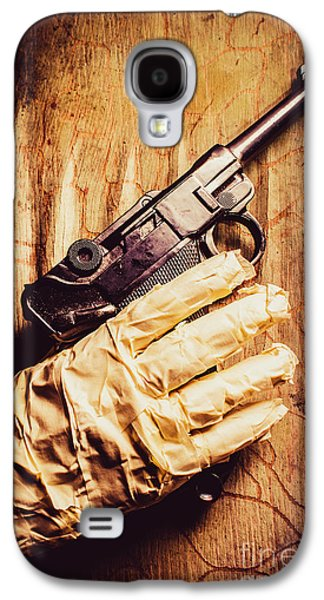 Undead Mummy  Holding Handgun Against Wooden Wall Galaxy S4 Case