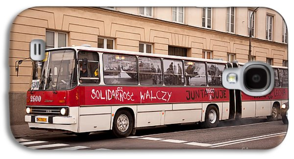 Unique Solidarnosc Bus On Street Galaxy S4 Case by Arletta Cwalina