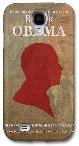 United States Of America President Barack Obama Facts Portrait And Quote Poster Series Number 44 Galaxy S4 Case by Design Turnpike