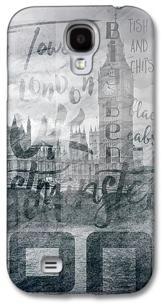 Urban-art London Houses Of Parliament And Red Buses I Galaxy S4 Case by Melanie Viola