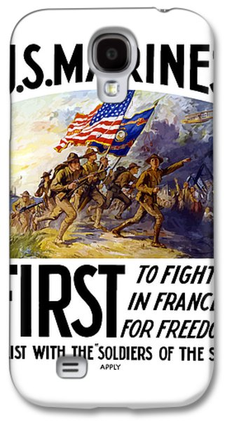 Us Marines - First To Fight In France Galaxy S4 Case by War Is Hell Store