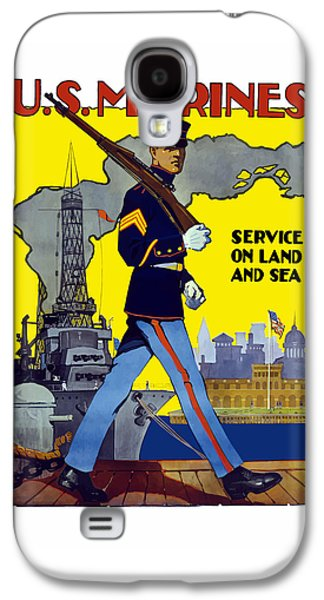 U.s. Marines - Service On Land And Sea Galaxy S4 Case by War Is Hell Store