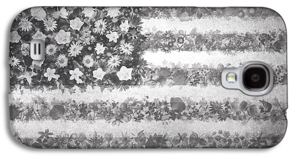 July 4 Galaxy S4 Case - Usa Flag Floral 2 by Bekim Art