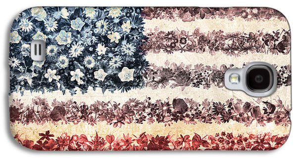 Usa Flag Floral 3 Galaxy S4 Case by Bekim Art