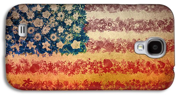 July 4 Galaxy S4 Case - Usa Flag Floral 4 by Bekim Art