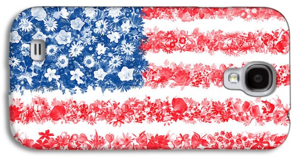 July 4 Galaxy S4 Case - Usa Flag Floral by Bekim Art