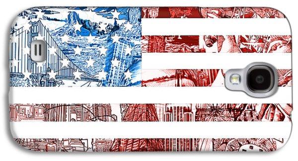 July 4 Galaxy S4 Case - Usa Flag by Bekim Art