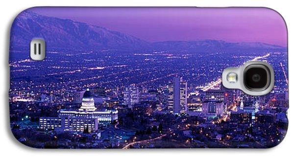 Usa, Utah, Salt Lake City, Aerial, Night Galaxy S4 Case