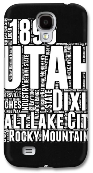 Utah Black And White Word Cloud Map Galaxy S4 Case by Naxart Studio