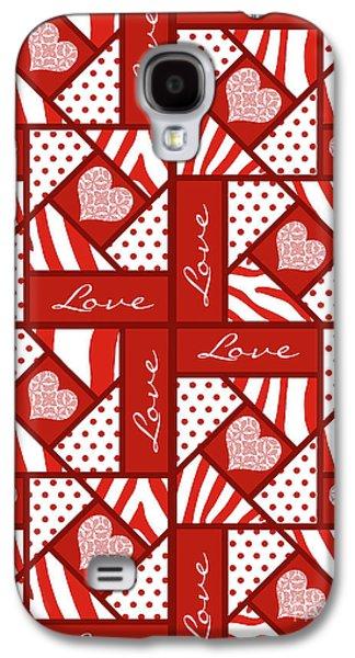 Valentine 4 Square Quilt Block Galaxy S4 Case