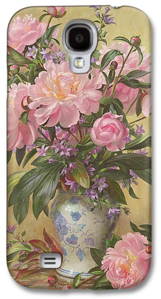 Vase Of Peonies And Canterbury Bells Galaxy S4 Case by Albert Williams