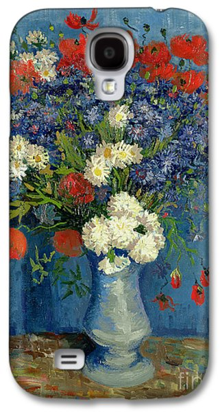 Vase With Cornflowers And Poppies Galaxy S4 Case by Vincent Van Gogh