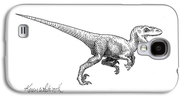 Velociraptor - Dinosaur Black And White Ink Drawing Galaxy S4 Case by Karen Whitworth