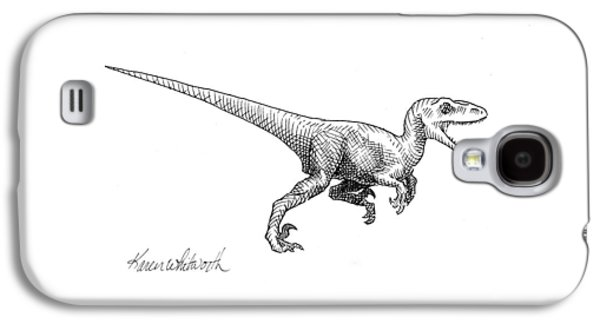 Velociraptor - Dinosaur Black And White Ink Drawing Galaxy S4 Case