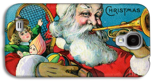 Victorian Illustration Of Santa Claus Holding Toys And Blowing On A Trumpet Galaxy S4 Case by American School