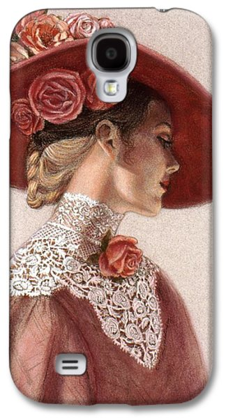 Floral Pastels Galaxy S4 Cases - Victorian Lady in a Rose Hat Galaxy S4 Case by Sue Halstenberg
