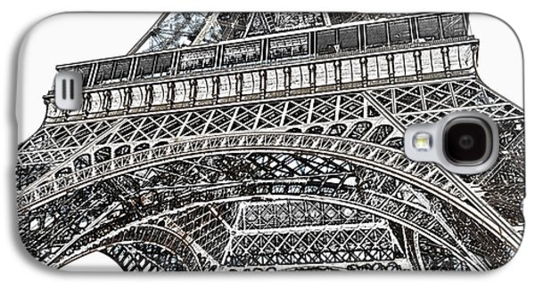 View Of Eiffel Tower First Floor Deck Paris France Colored Pencil Digital Art Galaxy S4 Case