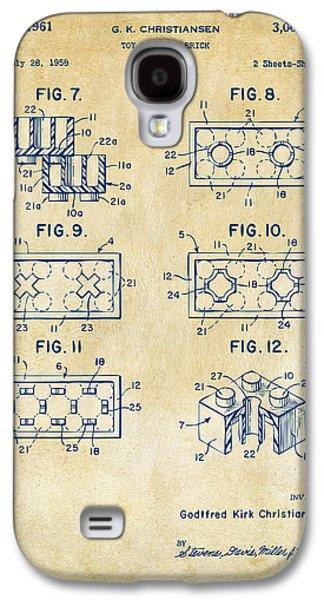 Vintage 1961 Lego Brick Patent Art Galaxy S4 Case by Nikki Marie Smith