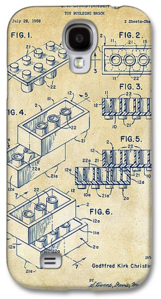Vintage 1961 Toy Building Brick Patent Art Galaxy S4 Case by Nikki Marie Smith
